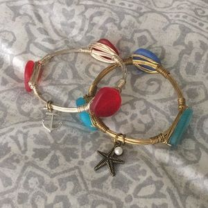 Red & blue bangle charm bracelets